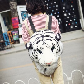 Cool Fashion 3D Tiger Head White Backpack Rucksack Students School Bag Size L