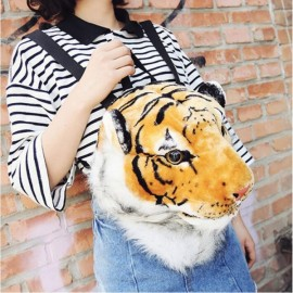 Cool Fashion 3D Tiger Head Yellow Backpack Rucksack Students School Bag Size L