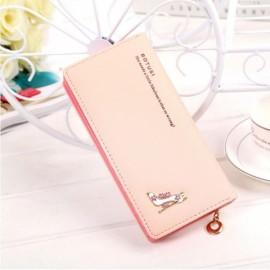 Women Girl High Heels Slim Coin PU Leather Purse Wallet Card Holder Handbag Pink