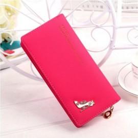 Women Girl High Heels Slim Coin PU Leather Purse Wallet Card Holder Handbag Rose Red