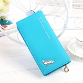 Women Girl High Heels Slim Coin PU Leather Purse Wallet Card Holder Handbag Blue