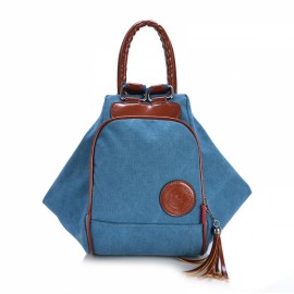 Multi Functional Women's Canvas Tassel Backpack Handbags Shoulder Bag - Blue