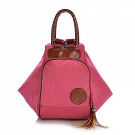 Multi Functional Women's Canvas Tassel Backpack Handbags Shoulder Bag - Pink