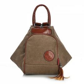 Multi Functional Women's Canvas Tassel Backpack Handbags Shoulder Bag - Coffee