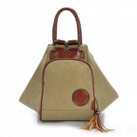 Multi Functional Women's Canvas Tassel Backpack Handbags Shoulder Bag - Khaki