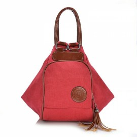 Multi Functional Women's Canvas Tassel Backpack Handbags Shoulder Bag - Red
