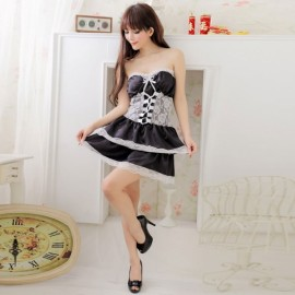 Women's Sexy Lingerie Sweet Princess Off-Shoulder Dress Black