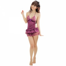Sexy Halter Neck Sheer Lace Bra Backless Barbie Skirt Women's Lingerie Purple