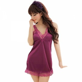 Women's V-neck Sexy Lace Design Babydoll Lingerie Purple