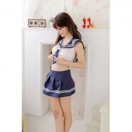 Sexy Cute High School Girl Uniform Adult Costume Set with Tie White & Blue