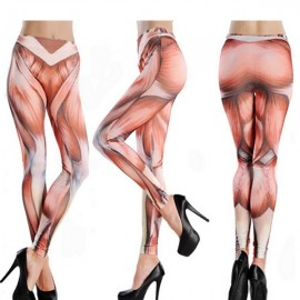 Funny High Waist Fitness Muscle Pattern Yoga Tattoo Women Stretch Cropped Leggings XXXXL