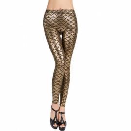 Sexy Women Holographic Mermaid Fish Scale Style Metallic Geometric Stretch Leggings Golden M