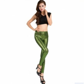 Sexy Women Holographic Mermaid Fish Scale Style Metallic Geometric Stretch Leggings Light Green L