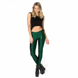 Sexy Women Holographic Mermaid Fish Scale Style Metallic Geometric Stretch Leggings Dark Green XL