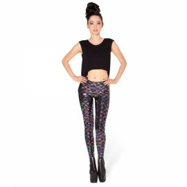 Sexy Women Holographic Mermaid Fish Scale Metallic Geometric Stretch Leggings - Size XXL & Multicolor