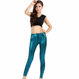 Sexy Women Holographic Mermaid Fish Scale Style Metallic Geometric Stretch Leggings Peacock Blue XXL