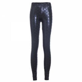 Sexy Women Holographic Mermaid Fish Scale Style Metallic Geometric Stretch Leggings Black & Blue XXL