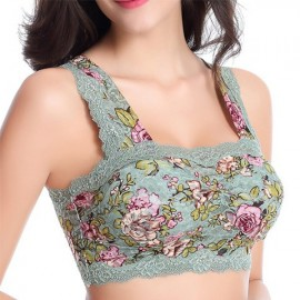 Women Comfy Floral Printing Lace Bra Wrapped Yoga Chest Vest Bra Green Figure 70=L