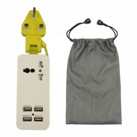 Universal Multifunction 4 USB Ports Charging Socket UK Plug Green & White