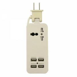 Universal Multifunction 4 USB Ports Charging Socket US Plug White