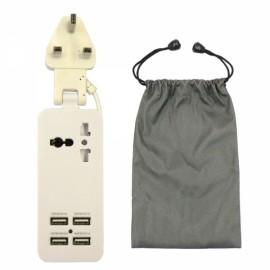Universal Multifunction 4 USB Ports Charging Socket UK Plug White
