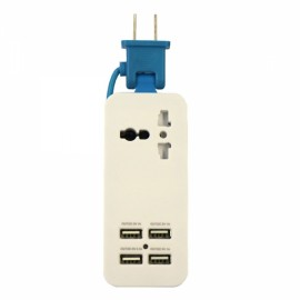 Universal Multifunction 4 USB Ports Charging Socket US Plug Blue & White