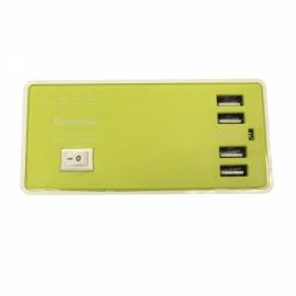 4-USB 4A 100-240V USB Charging Socket with Charging Cable EU Plug Green