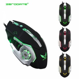 ZERODATE X500 Mechanical Mouse Game Mouse Wired Optical 3200DPI Computer Gaming Mouse Black