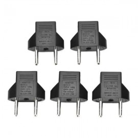 5pcs 6A 2-Round-Pin US to EU Plug Power Adapters Black (125-250V)