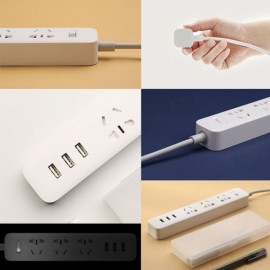 XiaoMi 3 USB Charging Ports Mini Power Strip with 3 Sockets White