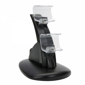 Dual-Slot Mini Charging Dock Stand for PS4 Controller Black