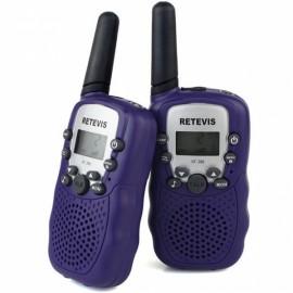 1Pair Retevis RT-388 Walkie Talkies UHF 0.5W 22CH Flashlight Two-Way Radio for Kids Children - Bluish Violet