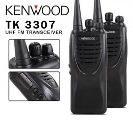 2 x Kenwood TK-3307 16CH UHF Rechargeable 2 Way Radio Walkie Talkie Transceiver