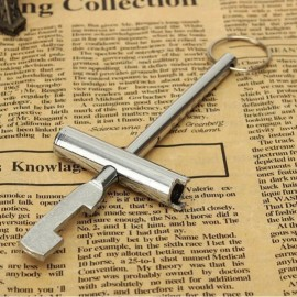 Inner Triangle Design Multifunctional Key for Cabinet Subway Train Elevator Silver