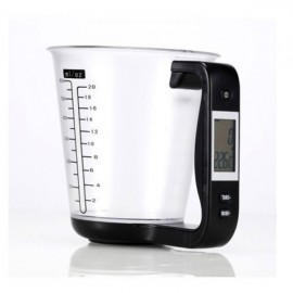 LCD Digital 1KG 600ML Measuring Cup Kitchen Scale Black