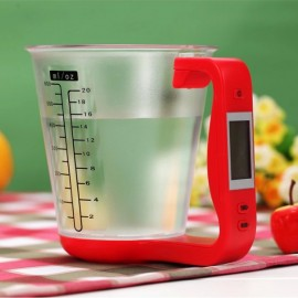LCD Digital 1KG 600ML Measuring Cup Kitchen Scale Red