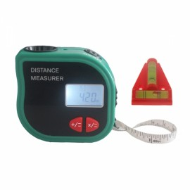 CP-3001 Handheld Ultrasonic Laser Range Finder with 1m Measuring Tape and Level Black & Green