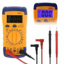 A830L LCD Digital Multimeter DC AC Voltage Tester Yellow & Blue