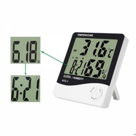 HTC-1 Professional Pocket-sized Digital Display Clock Thermometer Hygrometer White & Black