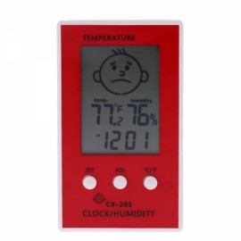 LCD Digital Thermometer Hygrometer Clock Weather Station Red
