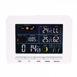 TS-76 Wireless Weather Station Digital Alarm Clock Thermometer Hygrometer EU Plug White