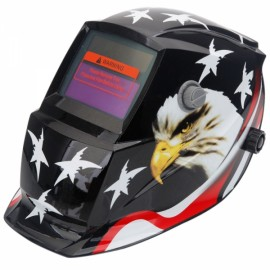 Solar Powered Auto Darkening Welding Helmet Eagle Pattern Black & White