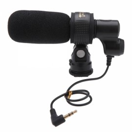Professional Miniature Stereo Pickup Microphone for Household DV / Camcorder Black