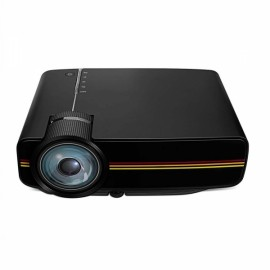 YG-400 LCD Mini 1080P 1000 Lumen LED Projector - Black EU Plug