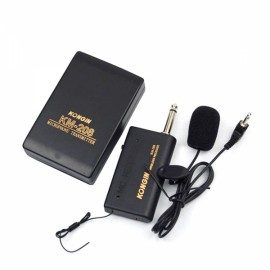 KM208 Wireless FM Transmitter Receiver Lavalier Lapel Clip Microphone Mic System Black