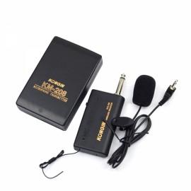 KM208 Wireless FM Transmitter Receiver Lavalier Lapel Clip Microphone Mic System Black