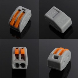32A 2-Way 2-Pin Spring Lever Push Cable Connector Terminal Block Gray