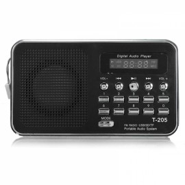 Mini LCD Digital FM Radio Speaker USB TF Card MP3 Music Player Black