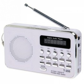 Portable LCD Digital FM Radio Speaker USB SD Card Music Player White