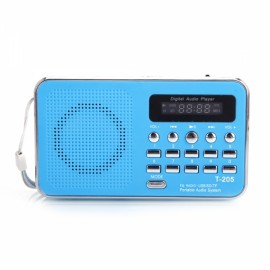 Portable LCD Digital FM Radio Speaker USB SD Card Music Player Blue